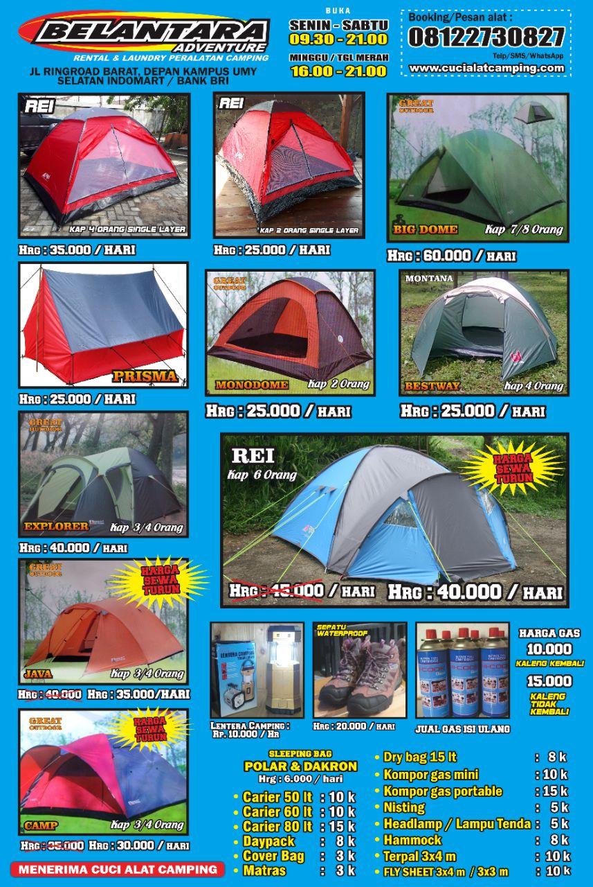 Harga Sewa Tenda Belantara Yogyakarta Cuci Alat Camping