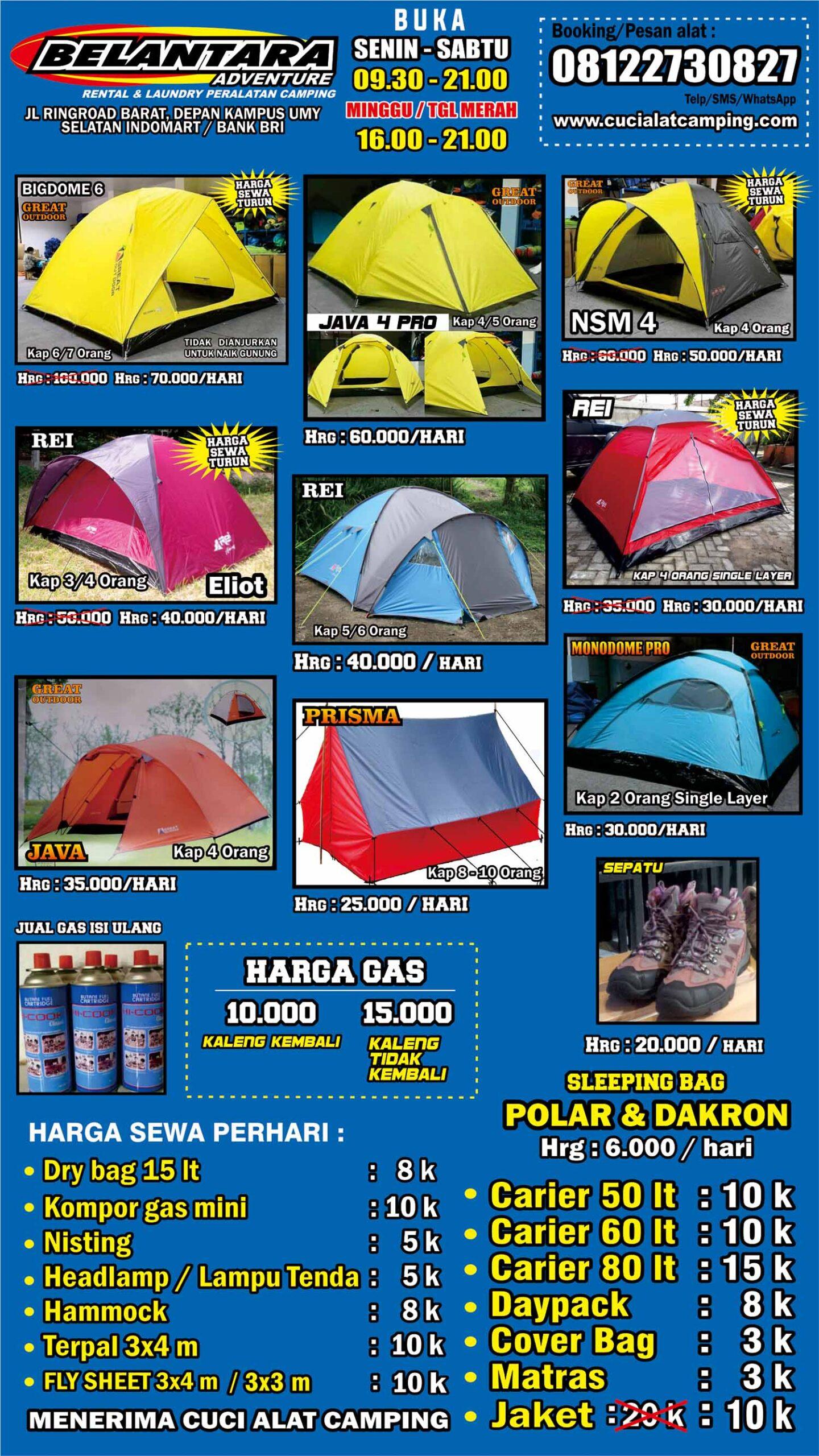 Rental Alat Camping Jogja Dan Cuci Alat Camping Belantara Adventure
